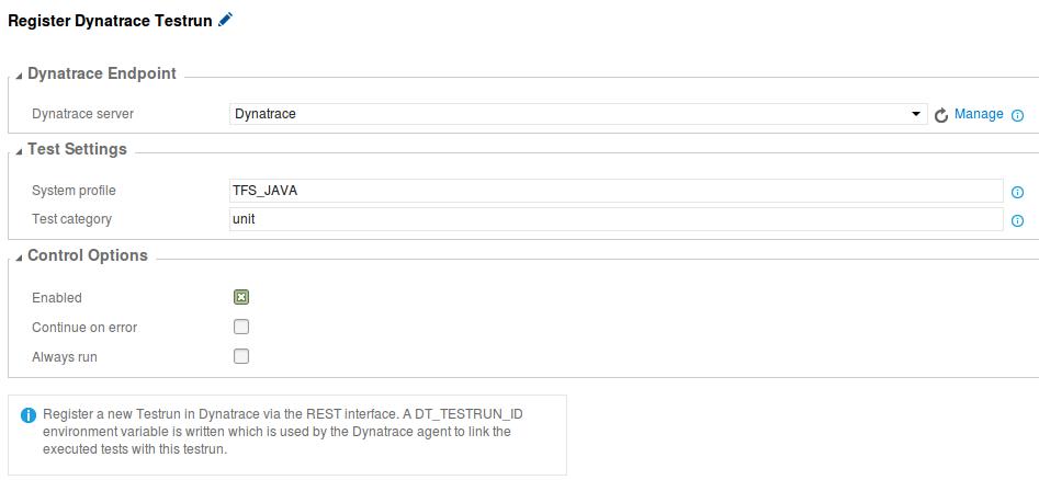 Register Dynatrace Testrun Task